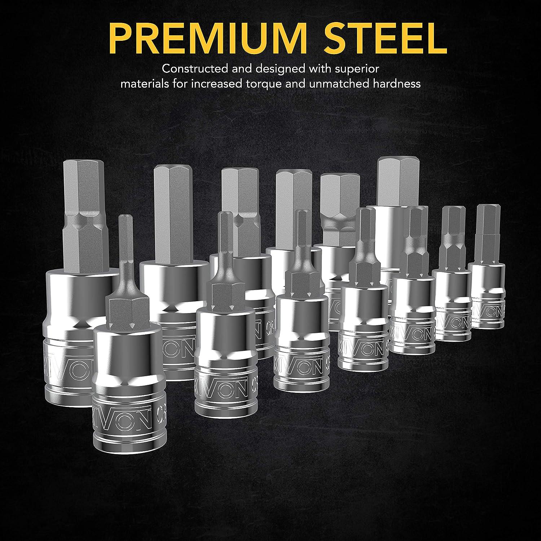 LEXIVON HEX Bit Socket Set Enhanced Storage Case 13-Piece Metric 2mm 14mm Set LX-141 Premium S2 Alloy Steel