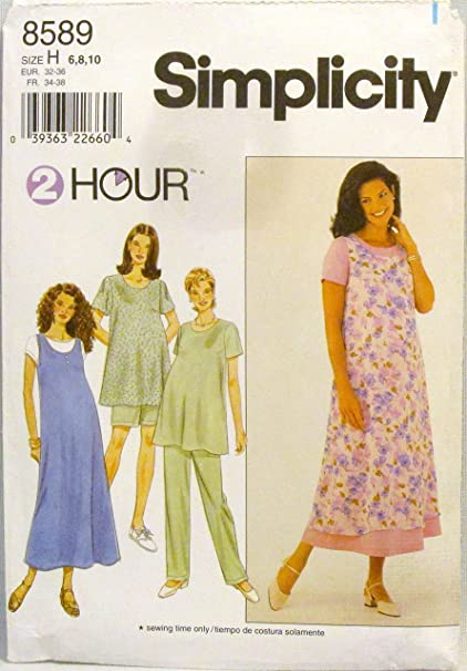 42de94ae12c4c Image Unavailable. Image not available for. Color: Simplicity 2 Hour Sewing  Pattern 8589 Maternity Dress or Top, Jumper and Pants or Shorts