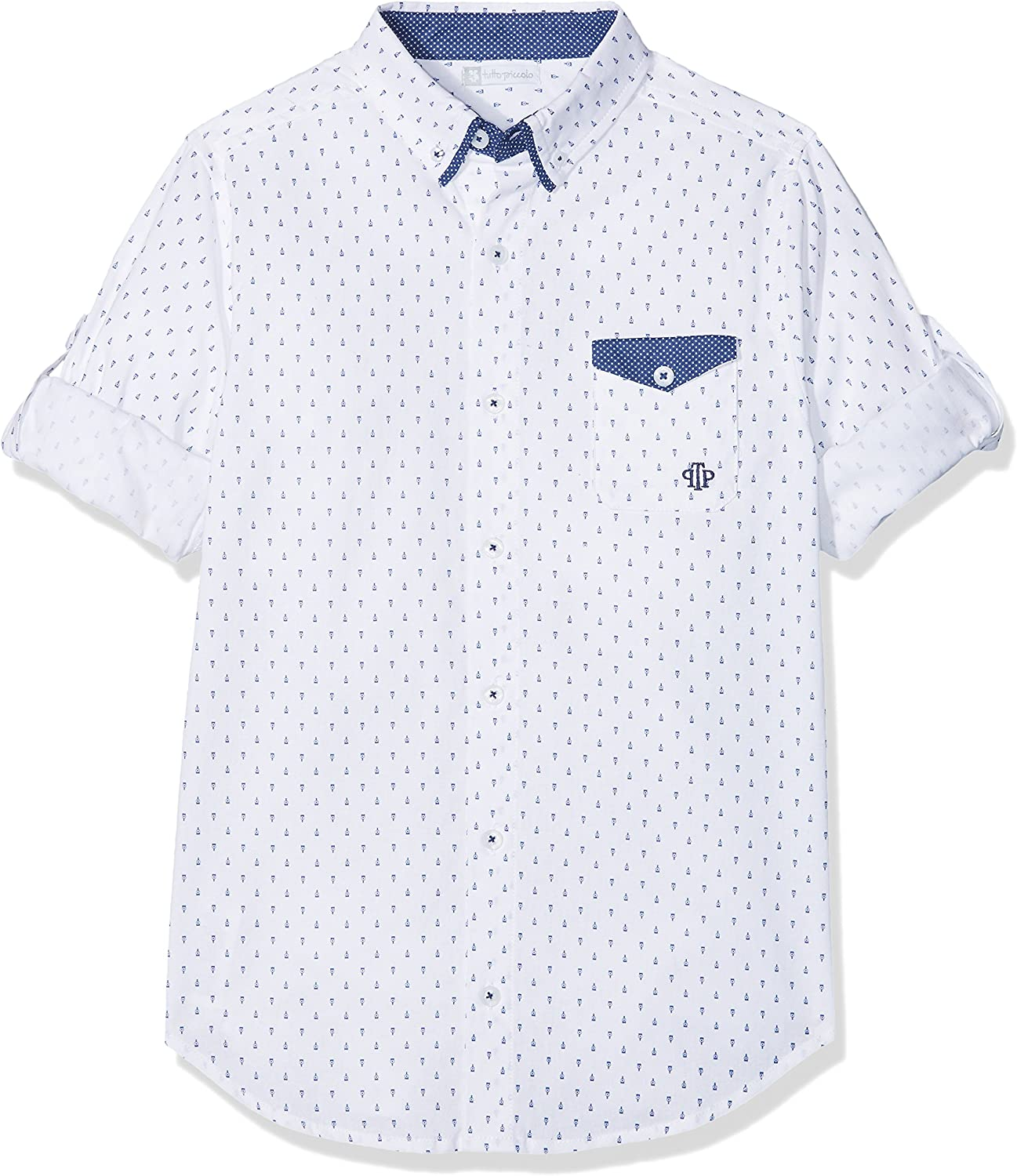 Tutto Piccolo 4049S18 Camisa, Blanco (White-Navy Blue W00B07), 6 ...