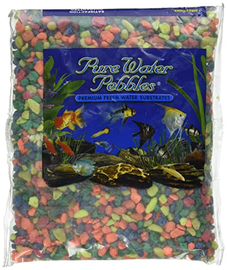 Pure Water Pebbles Agua Pura Pebbles Acuario Grava, 2-pound, Neon Rainbow
