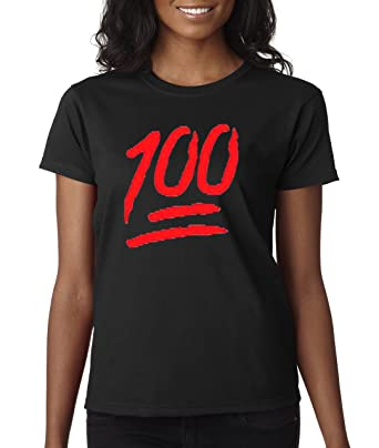 1a857052 Amazon.com: New Way 141 - Women's T-Shirt Keep It A Hunnid Hundred 100 Emoji  Apple StreetWear Sneaker T-Shirt: Clothing