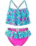 Maillots de Bain Une Pièce Filles, 50+ UPF UV Protection Tankini, Floral Ruffle Costume Tropical pour Plage Baignade Enfant