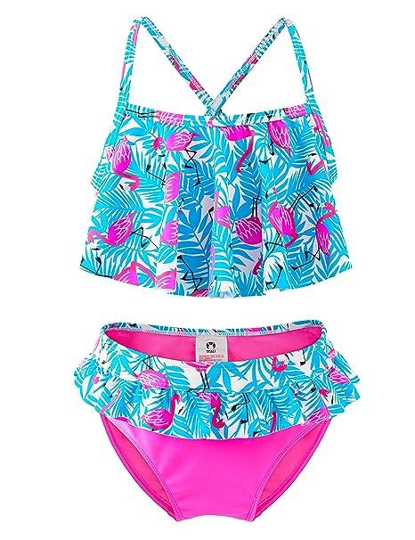 Traje de Baño Niña, Conjunto de Bikini Flamingo de Dos ...