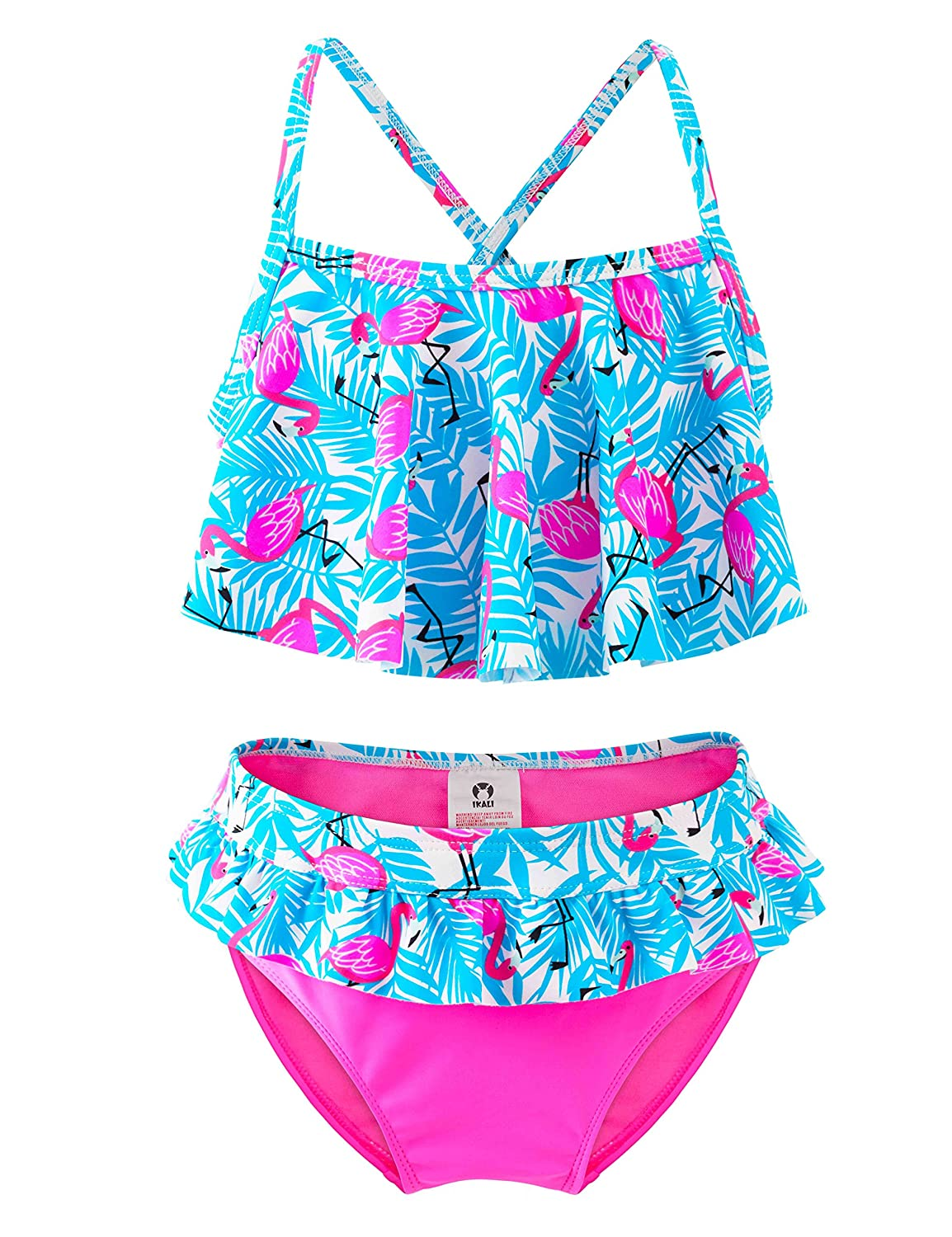 caff621eb0 Amazon.com: Girls Two-Piece Bikini, Ruffle Flamingo Printing Swimsuit, Beach  Bathing Suit for Vacation: Clothing