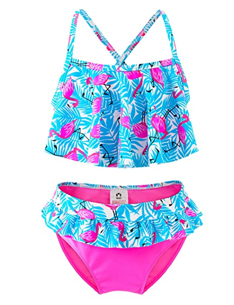 Girls Two Piece Swimsuit, Ruffle Flamingo Bikini Swimwear, Beach Bathing Suit