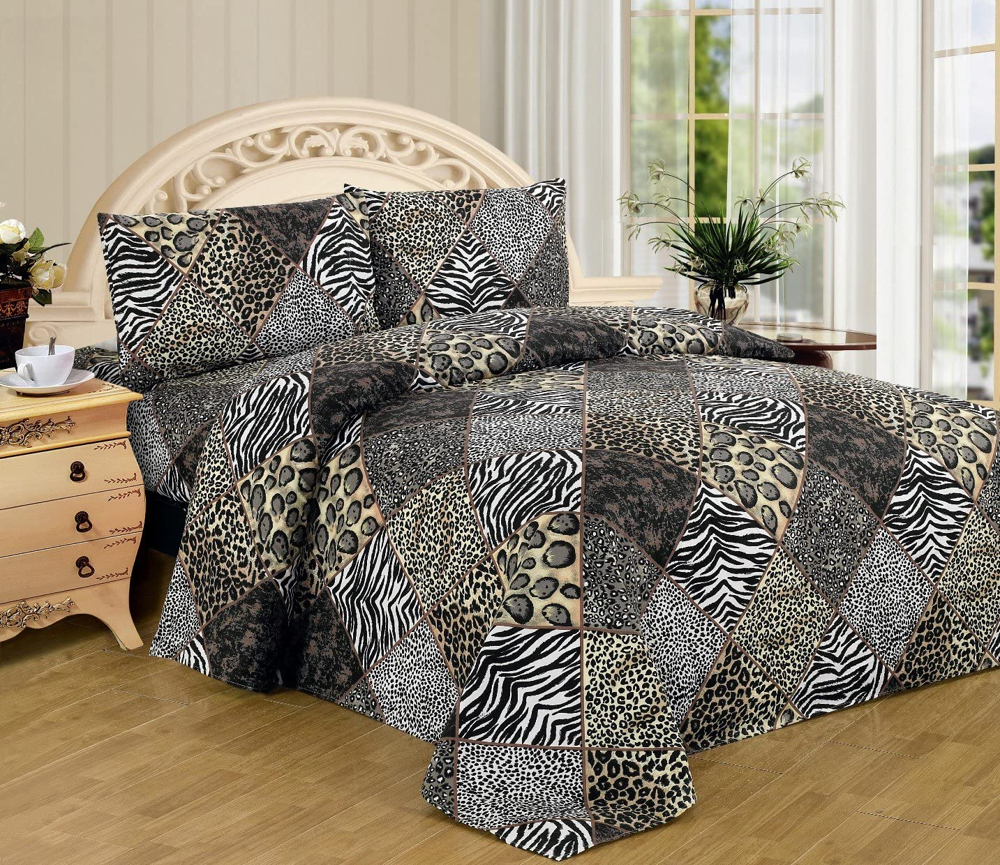 Bed Sheets Bedding Sheet Set Zebra Animal Print Queen Size Soft Flat Case 4 pcs