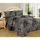 White Black Leopard Zebra Queen Size Sheet Set 4 Pc Safari Animal Print Pillow Shams Bedding