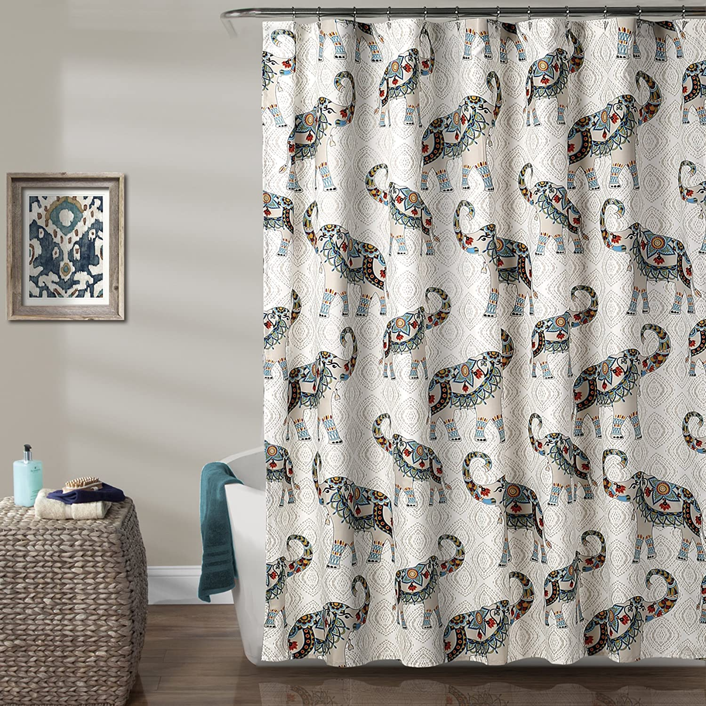 """Lush Decor Décor Hati Elephants Shower Curtain, 72"""" x 72"""", Navy/Turquoise"""