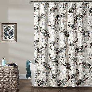 Lush Decor Décor Hati Elephants Shower Curtain, 72