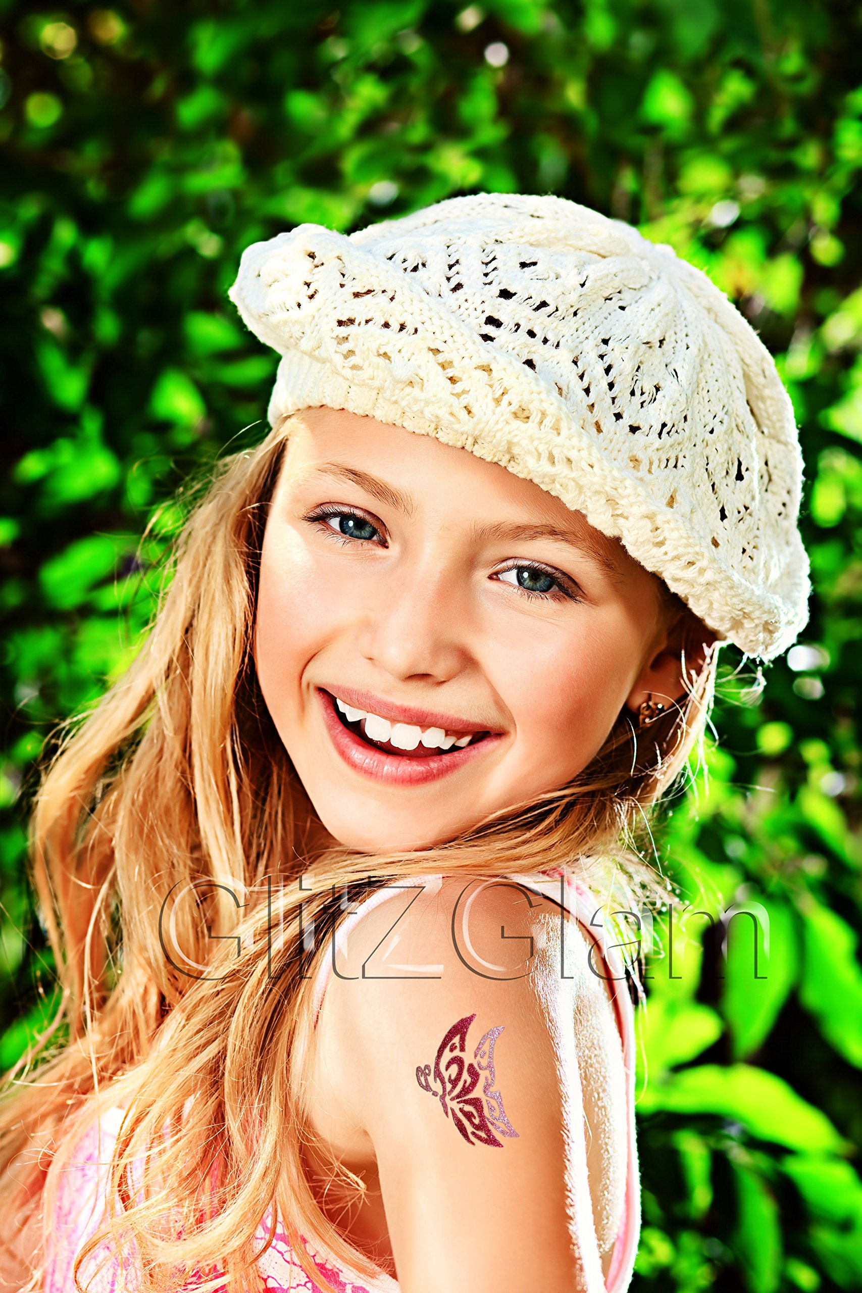 LIL DIVAS Glitter Tattoo Kit with 6 Large Glitters & 12 Stencils for Temporary Tattoos - HYPOALLERGENIC and DERMATOLOGIST TESTED! by GlitZGlam (Image #3)