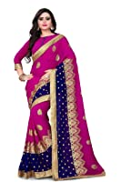 Siddeshwary Fab Women's Women Pink Embrodairy Saree With Blouse Pieace