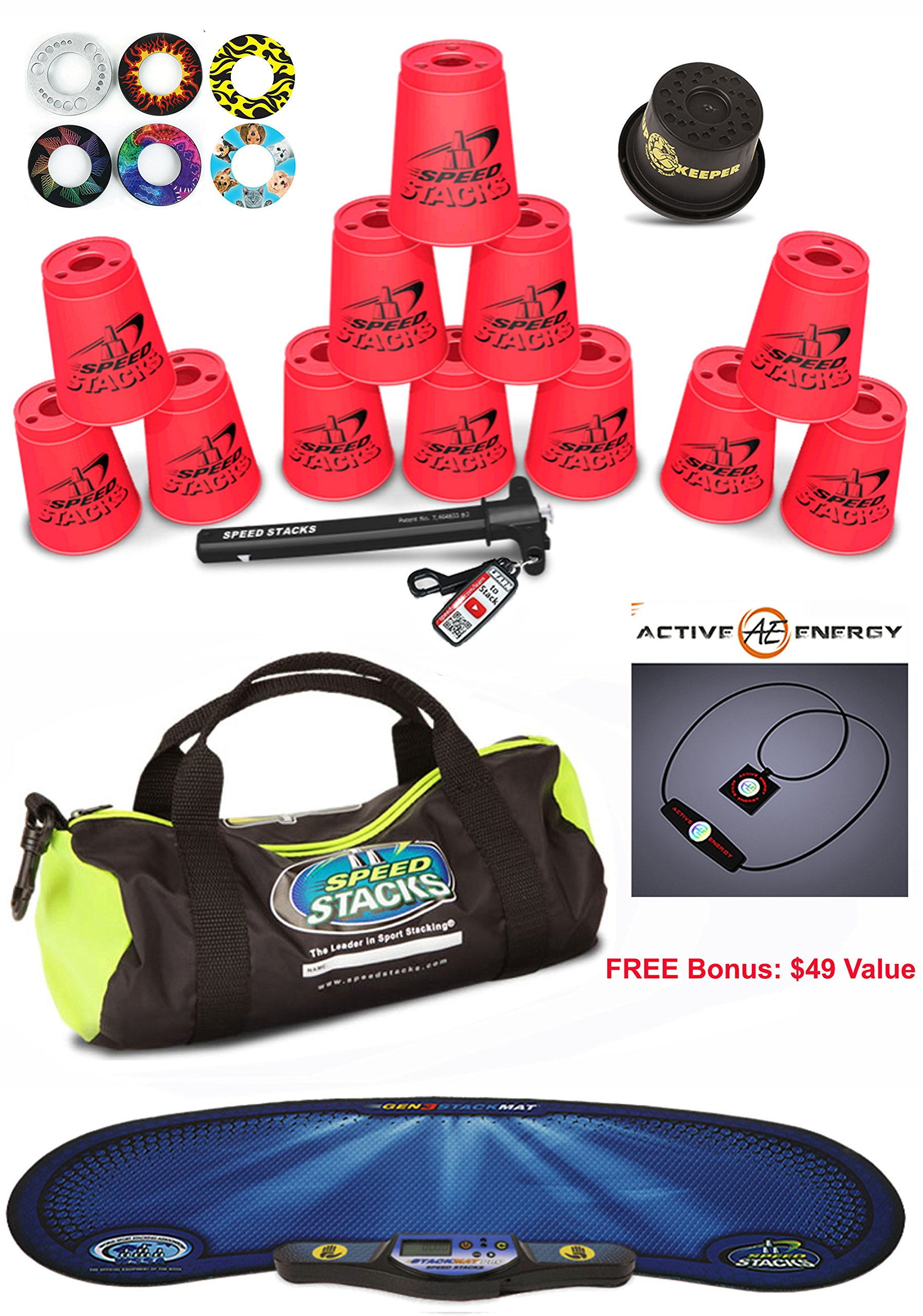Speed Stacks Custom Combo Set - The Works: 12 NEON PINK Cups, Cup Keeper, Quick Release Stem, Pro Timer, Gen 3 Mat, 6 Snap Tops & Gear Bag by Speed Stacks