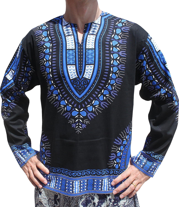 Raan Pah Muang SHIRT メンズ B075V3XX1D XS|Black Blue Black Blue XS