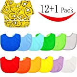 12 Baby Bibs and 1 Full Coverage Super Bib , Stay Dry Soft Waterproof Baby Terry Bibs for 3 To 12 Months , Emoji Sleeved Bib  for 6 To 24 Months