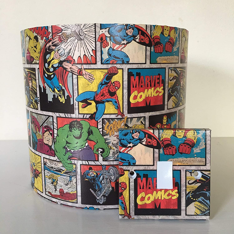 Handmade Marvel Comics Strip Lightswitch or Lampshade Spiderman, Hulk, Iron Man and Captain America | 20cm | Table Floor Ceiling light-shades | Children Kids Baby Boys Girls Room Decor