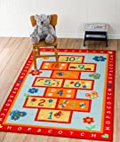 Kids HOPSCOTCH Play Area Rug ACTIVITY RUG 4'x6' Actual 3'.11''x5'.5''- Nice Size - Printed Area Rug with Non Skid Backing 47 Inches By 65 Inches