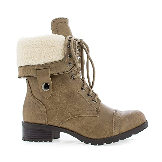 Round Toe Foldable Shaft Faux Shearling Military Comabt Boots