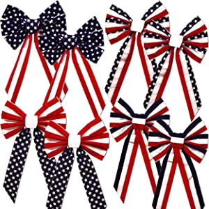 """Velvet Red White and Blue Patriotic Bows 8 Pack Large 26"""" Long 6 Loop Fourth of July American Flag Stars & Stripes 4 Designs For Indoor & Outdoor Bunting Wreaths Independence Day Decorations"""