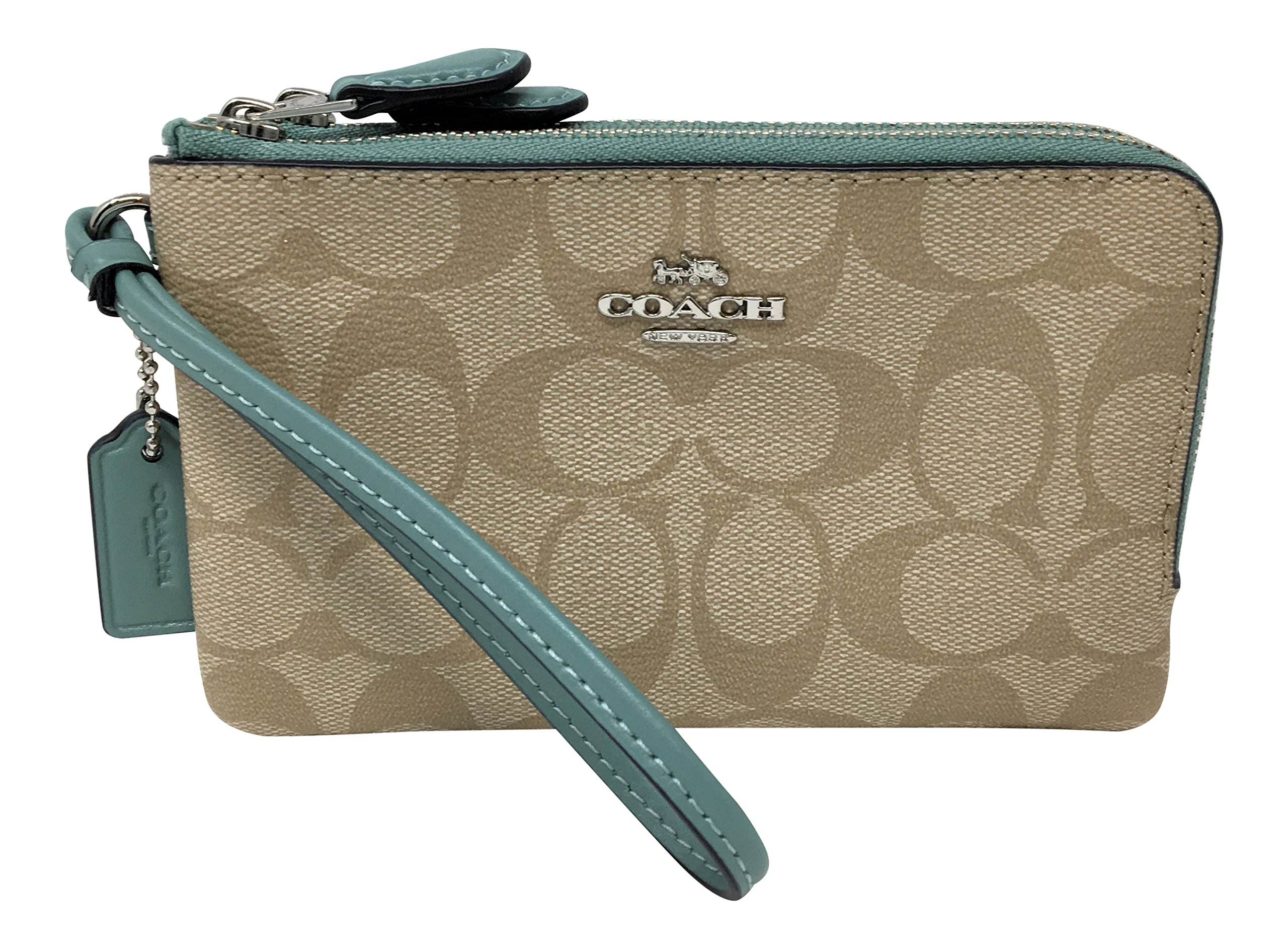 Coach Signature PVC Double Corner Zip Wristlet Light Khaki Aquamarine F87591