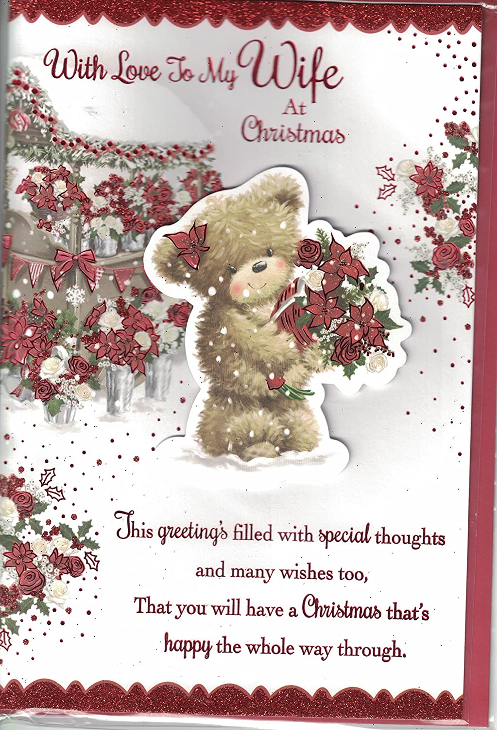 Wife Christmas Card To My Special Wife With Love Santa Bear
