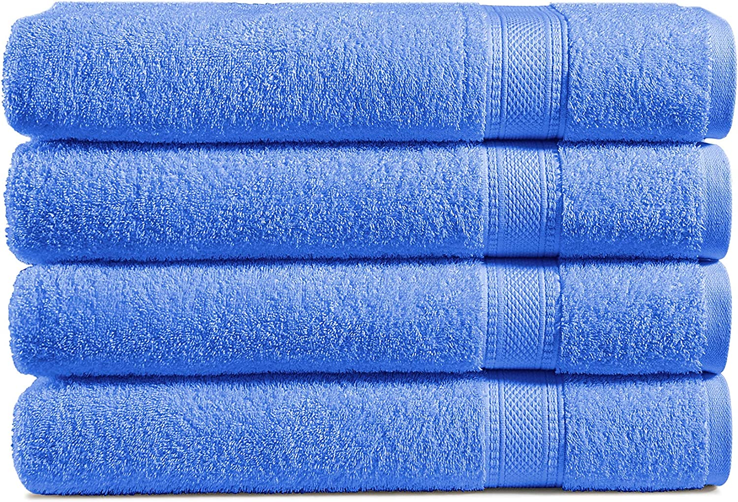 100 Cotton 4 Piece Bath Towel Set 500 Gsm Luxuriously Sized 30 X 54 Inch Classic Amercian Construction Soft Highly Absorbent Machine Washable Blue Kitchen Dining