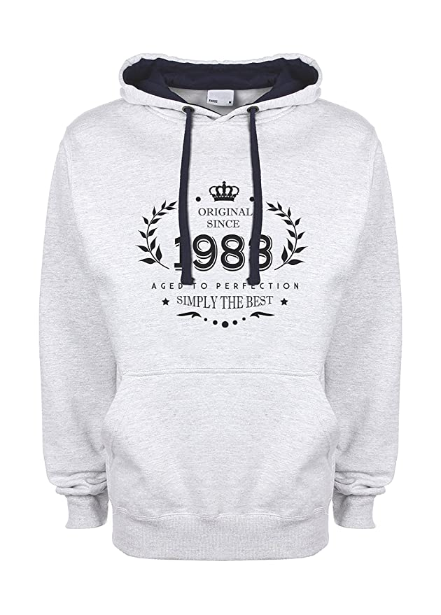 Amazon.com: Birthday Original Since 1983 Aged to Perfection 35 Thirty Five Years Anniversary Present Unisex Top Quality Contrast Hoodie: Clothing