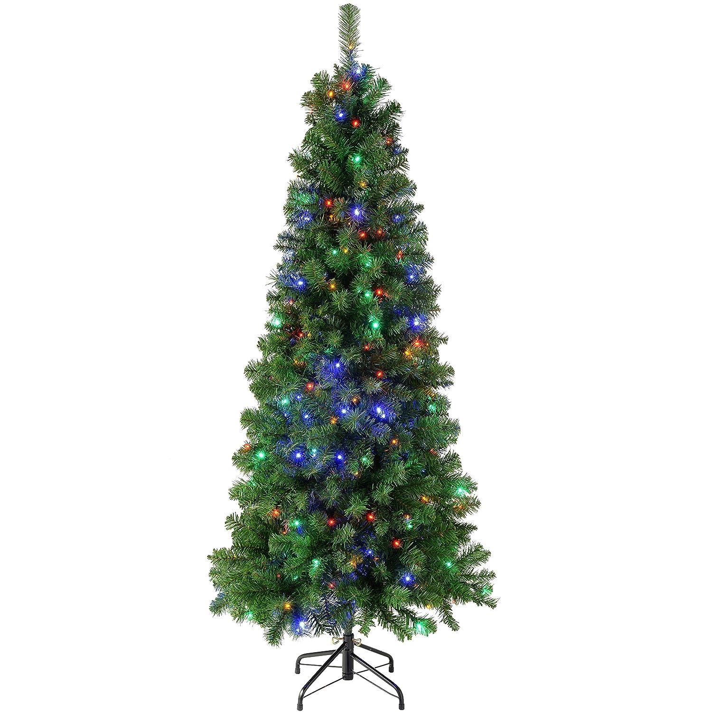 WeRChristmas Pre-Lit Slim Christmas Tree with 200 Multi Colour LED ...