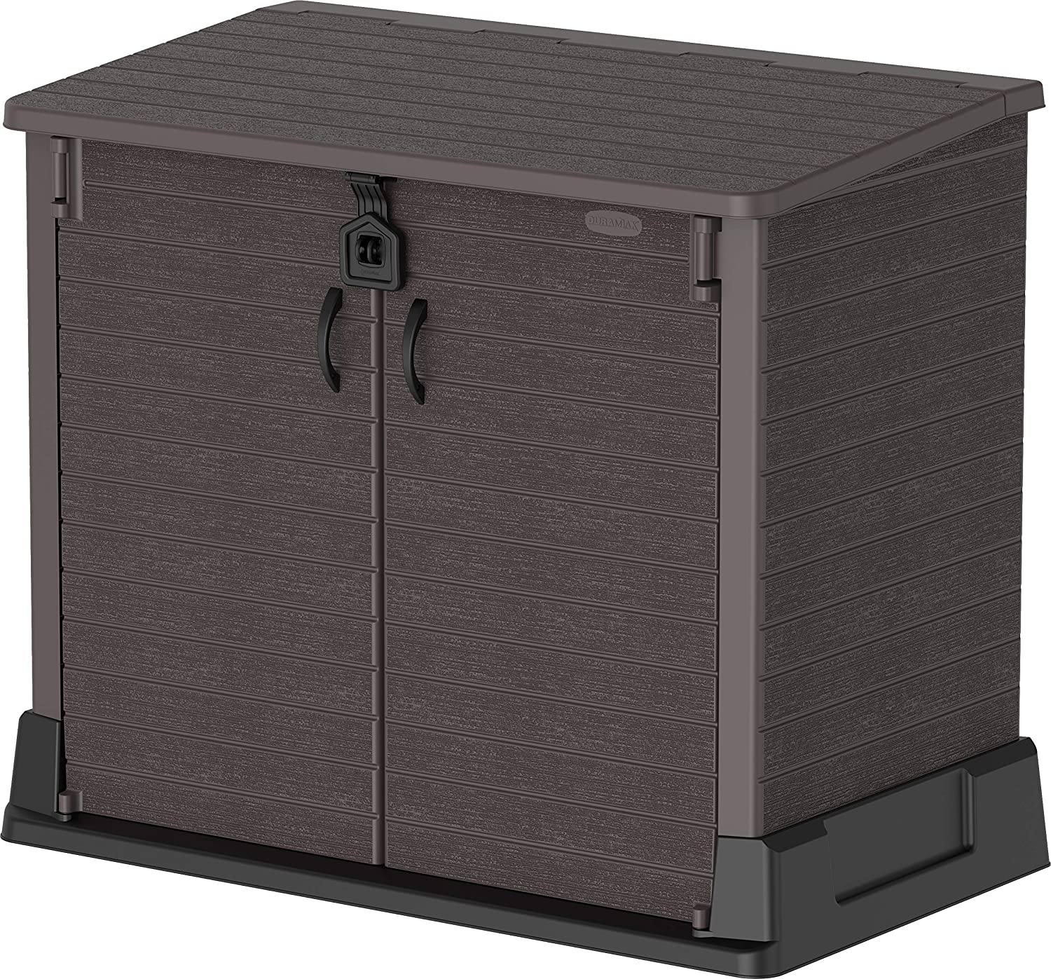 Duramax Cedargrain StoreAway 850L Plastic Garden Storage Shed - Outdoor Storage Bike Shed – Durable & Strong Construction– Ideal for Tools, Bikes, BBQs & 2x 120L Garbage Bins, 130 x 74 x 110 cm, Brown