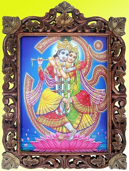 Amazoncom Radha Krishna Om Lotus Flower Pic In Craft Frame