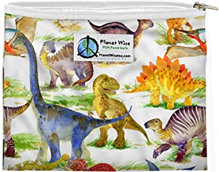 product image for Planet Wise Reusable Zipper Sandwich and Snack Bags (Dino Mite, Sandwich)