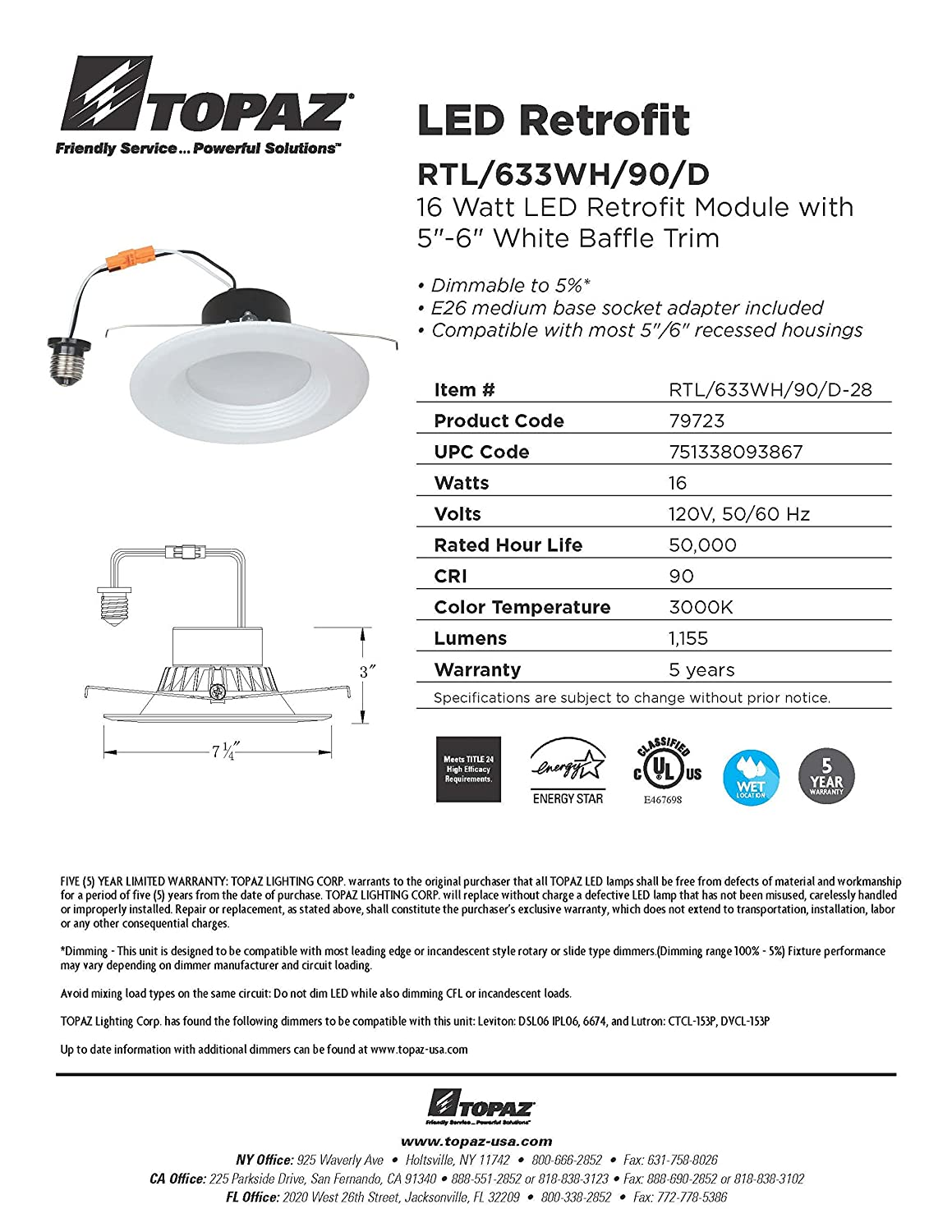 Topaz Lighting 79723 Led Recessed Retrofit Trim 5 6 Baffle White Wiring Diagram 16w Cct 3000k 1155 Lumens Save Time And Money Energy Efficient Easy To Install