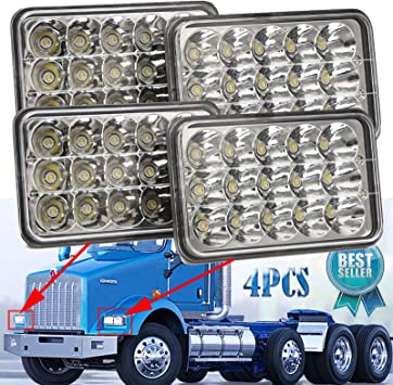 For Kenworth T800 T400 T600 W900B 4pcs 4x6 Inch Led Sealed Beam Headlights