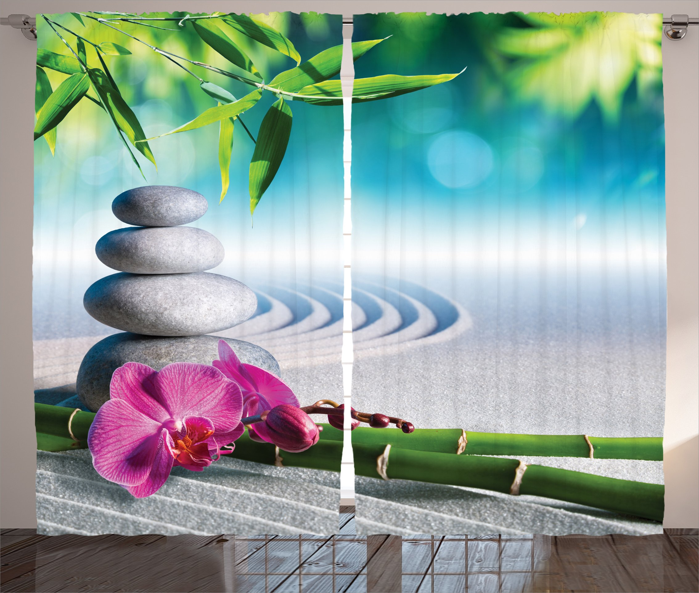 Ambesonne Spa Decor Curtains By, Sand Orchid And Massage Stones In Zen Garden Sunny Day Meditation, Living Room Bedroom Decor, 2 Panel Set, 108 W X 84 L Inches