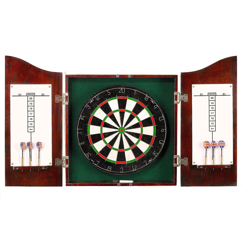 Hathaway Centerpoint Solid Wood Dartboard and Cabinet Set, Dark Cherry Finish BG1041CH