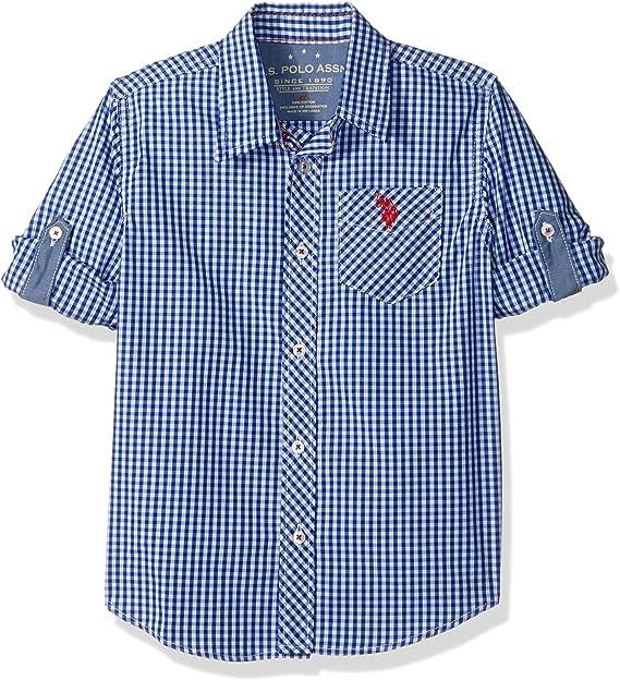 NEW U.S Boys/' Long Sleeve Sport Shirt Black /& White 100/% Cotton Polo Assn