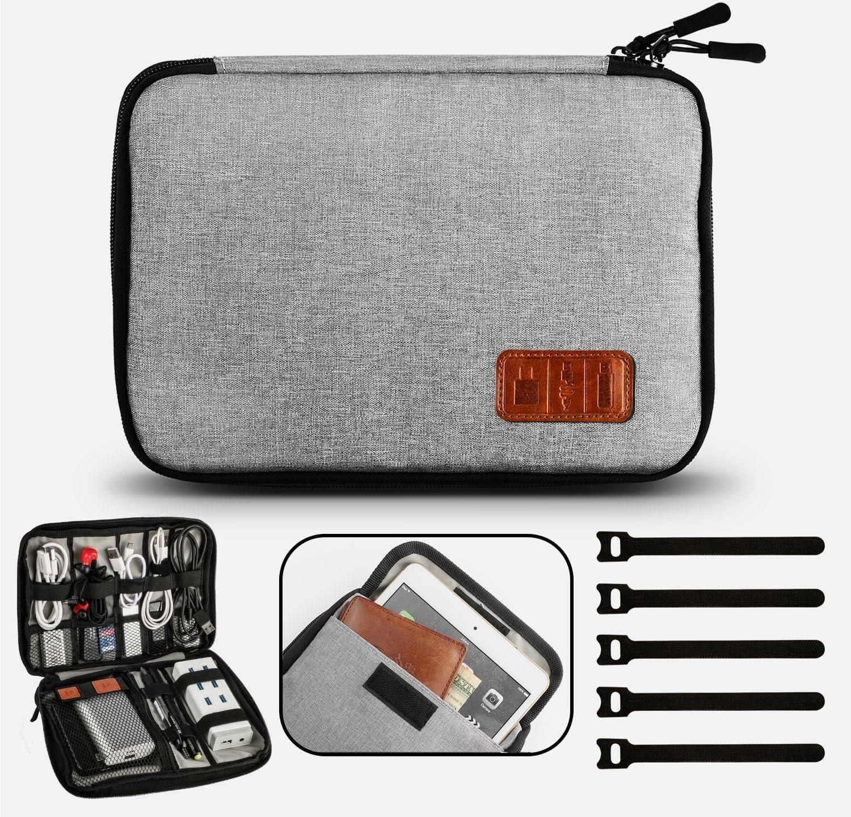 GiBot Electronic Cable Finisher Accesorios electrónicos portátiles Bolsa de viaje con cable, gris