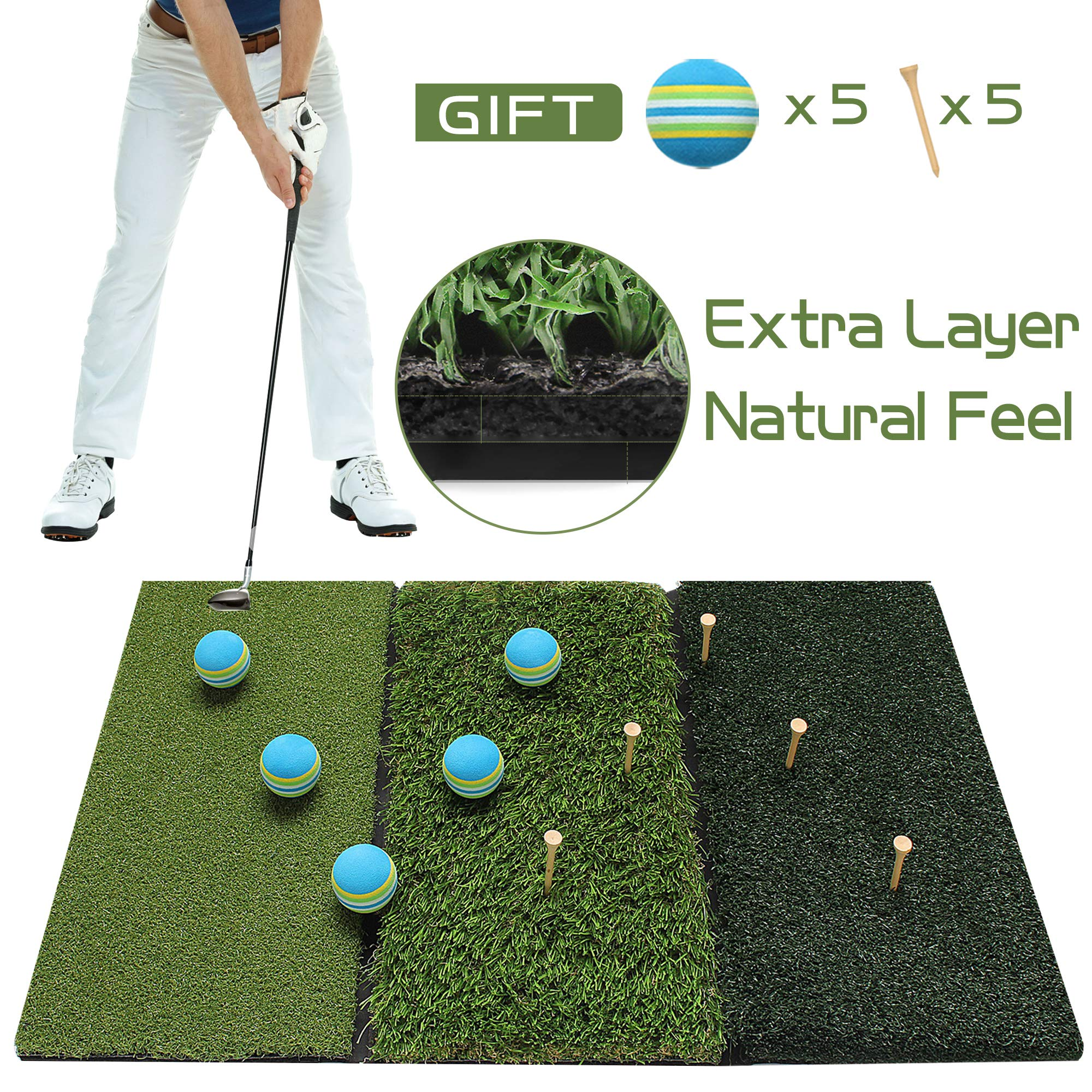 Running Raccoon Tri-Turf Golf Hitting Driving Mat, Practice Mat, Foldable Portable, Chipping Putting Green, Swing Trainer, Training Aids for Backyard Indoor & Outdoor Practice with Tees and Foam Balls by Running Raccoon