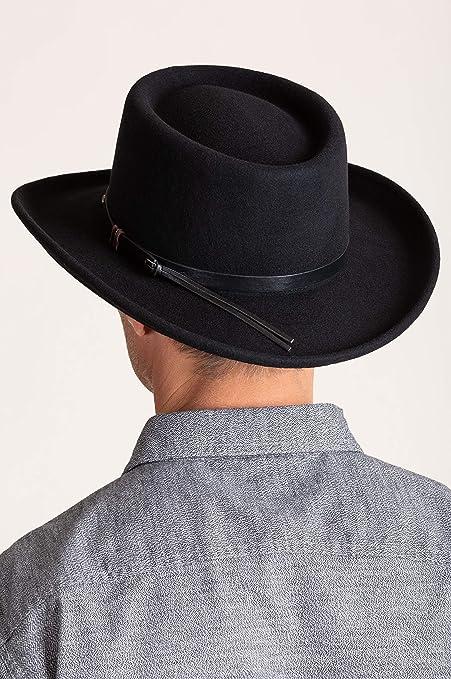 668972cf7de20 Overland Sheepskin Co Quincy Crushable Wool Waterproof Gambler Hat - Black  -  Amazon.co.uk  Clothing