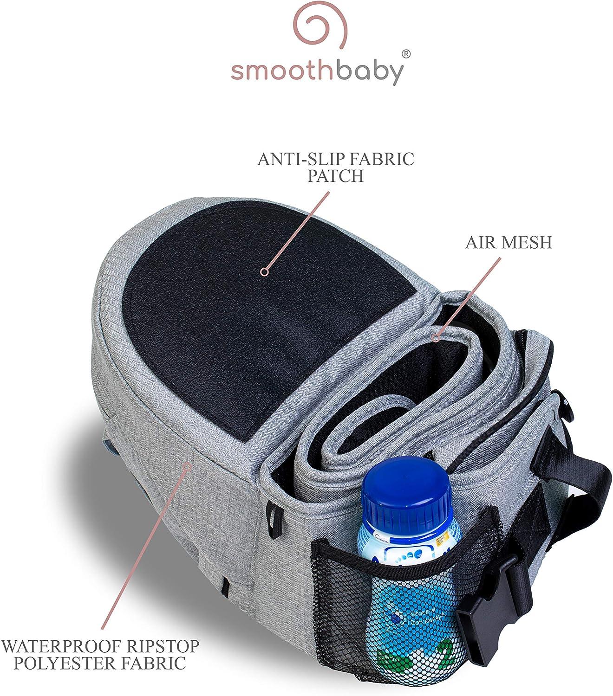 SMOOTHBABY/® ONE Porte-b/éb/é Ergonomique pour Int/érieur et Ext/érieur Noir B/éb/é de 4 /à 36 mois ou jusqu/'/à 20kg Multi-position 3D MESH
