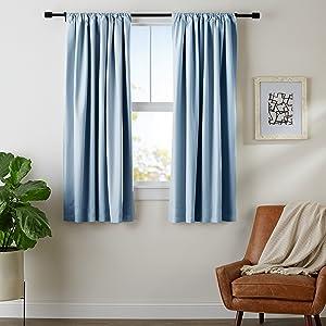 "AmazonBasics Room Darkening Blackout Curtain Set with Tie Backs - 52"" x 63"", Smoke Blue"