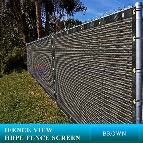 Ifenceview 5 x3 to 5 x50 Brown Shade Cloth Fence Privacy Screen Fabric Mesh Net for Construction Site, Yard, Driveway, Garden, Railing, Canopy, Awning 160 GSM UV Protection 5 X 50