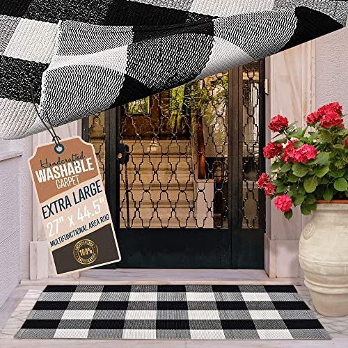 KyCyn Cotton Buffalo Plaid Rug Black and White Check Rugs – Hand Woven Rug, Washable Door Mats Indoor Outdoor Use 27×44.5 White not Cream