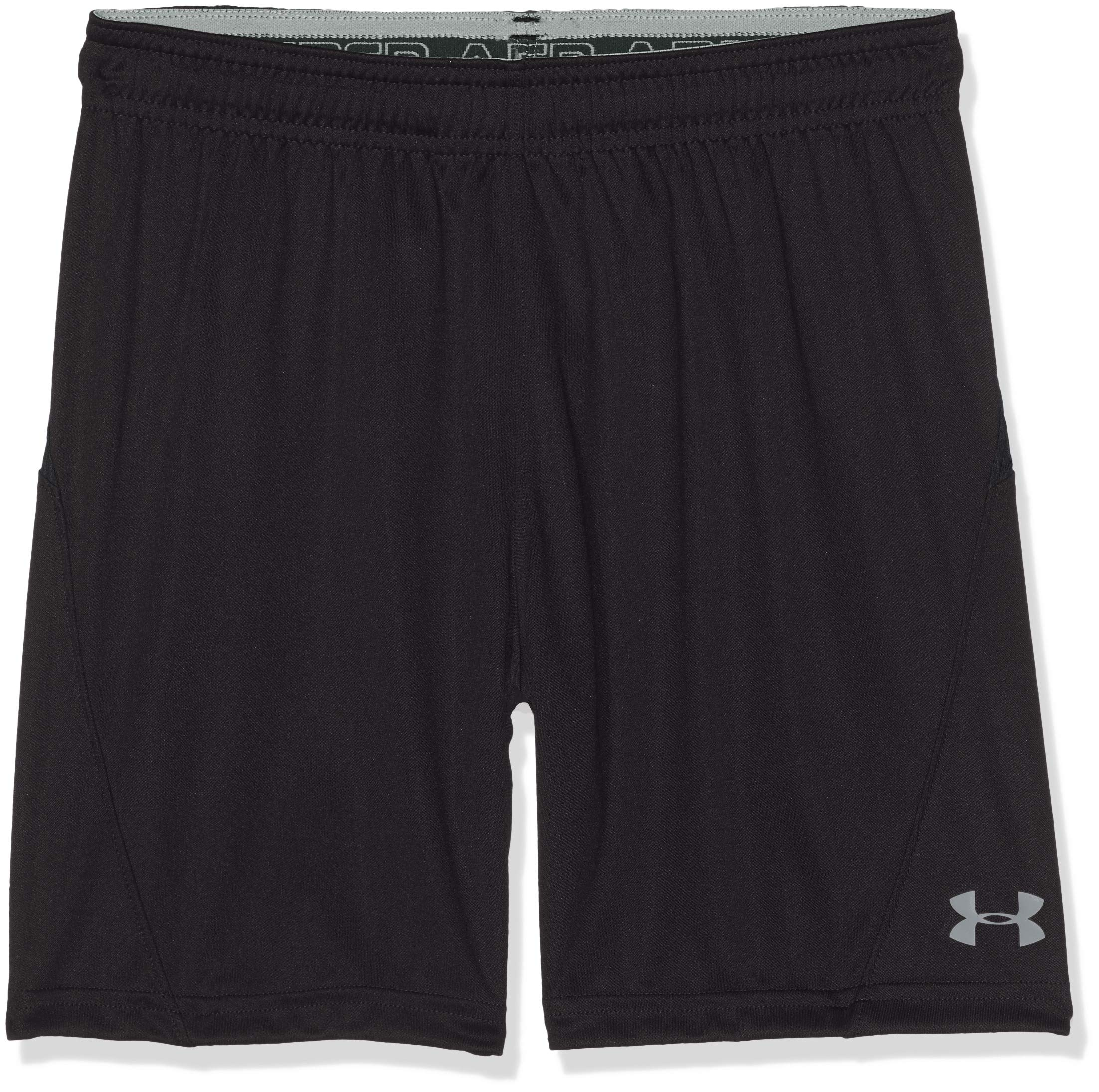 Under Armour Boys Challenger Knit Shorts, Black/Overcast Gray, Youth X-Small by Under Armour
