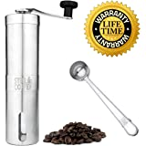 Manual Conical Burr Coffee Grinder: Hand Held Stainless Steel Body and Adjustable Setting Ceramic Mill Grinders for Turkish Coffee, Fine Espresso, Drip, and Coarse French Press - Professional No Mess