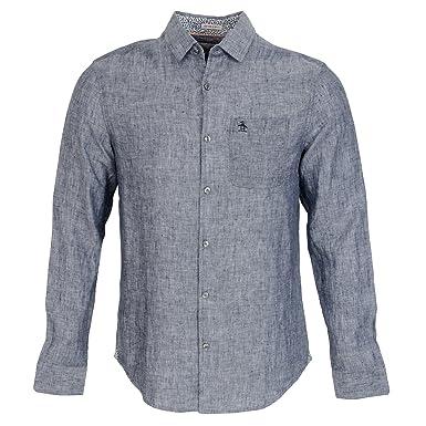 Original Penguin NEP Linen, Camisa para Hombre, Azul (Dark Sapphire 413) X-Large: Amazon.es: Ropa y accesorios