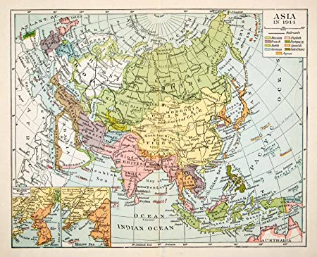 Map Of Asia To Print.1936 Print Map Asia Russian Empire China Japan Tibet Arabia British