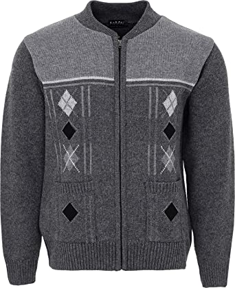 f86ebbf68e2b Mens Knitted Cardigan Zip Front Chunky Cable Knit with Front Pockets   Amazon.co.uk  Clothing