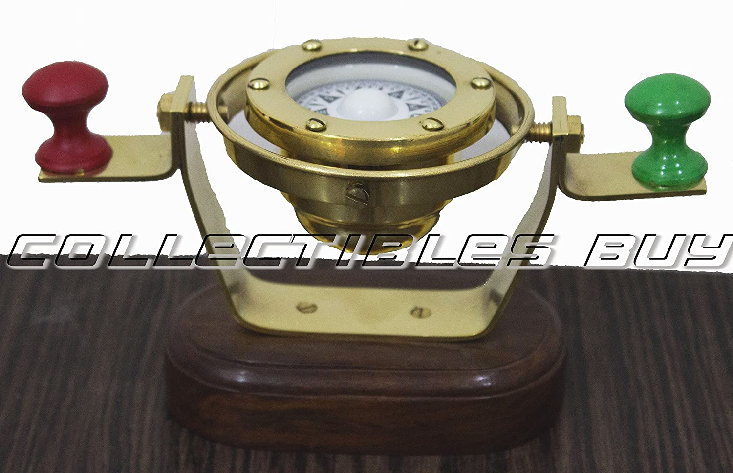 Camping Compass With Wood Base Maritime