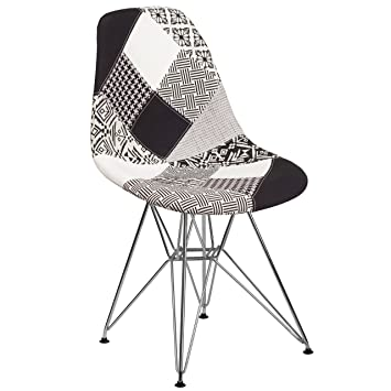 Flash Furniture Elon Series Turin Patchwork Fabric Chair With Chrome Base