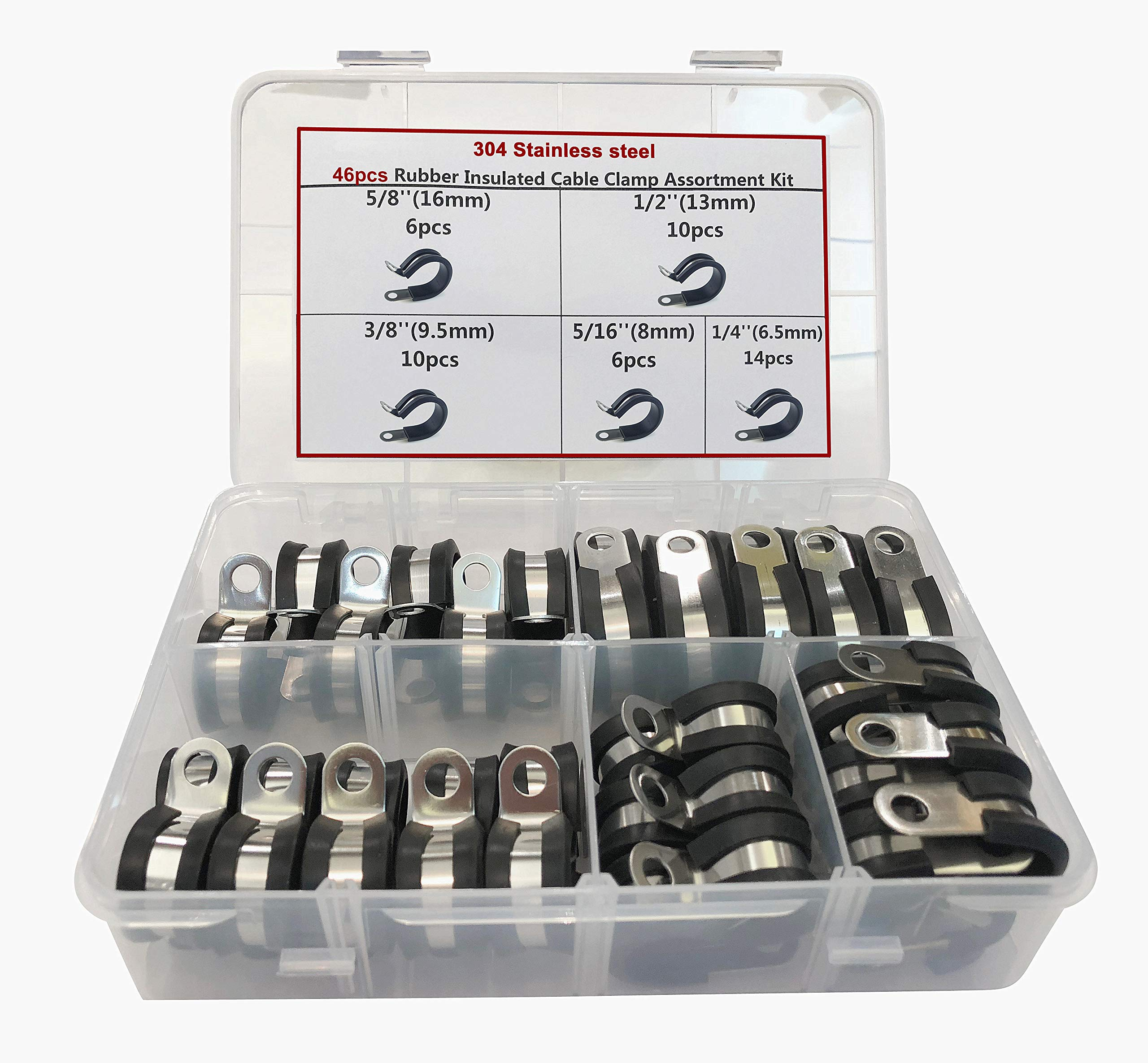 Cable Clamp, 46 Pieces Stainless Steel Rubber Cushion Pipe Clamps Assortment with 5 Size 1/4'' 5/16'' 3/8'' 1/2'' 5/8'',Cable Clamp Kit